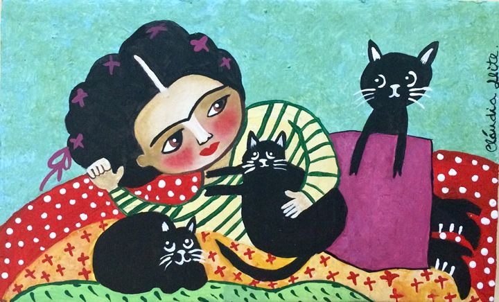 Frida and her cats - Cláudia Leite