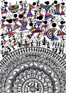 Print Warli Mandala Art