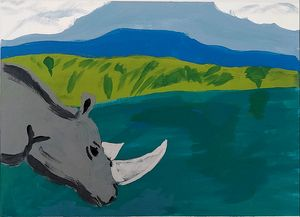Rhino in the pond