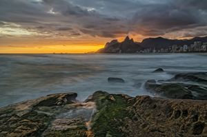 Sunset at Arpoador beach, Ipanema