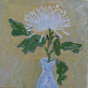 White Chrysanthemum  in Chinese vase - Elena Zapassky
