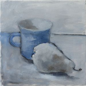 Sketch with blue cup and pear