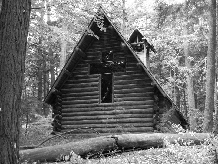 Log Chapel with glass cross - Kimberely Martin