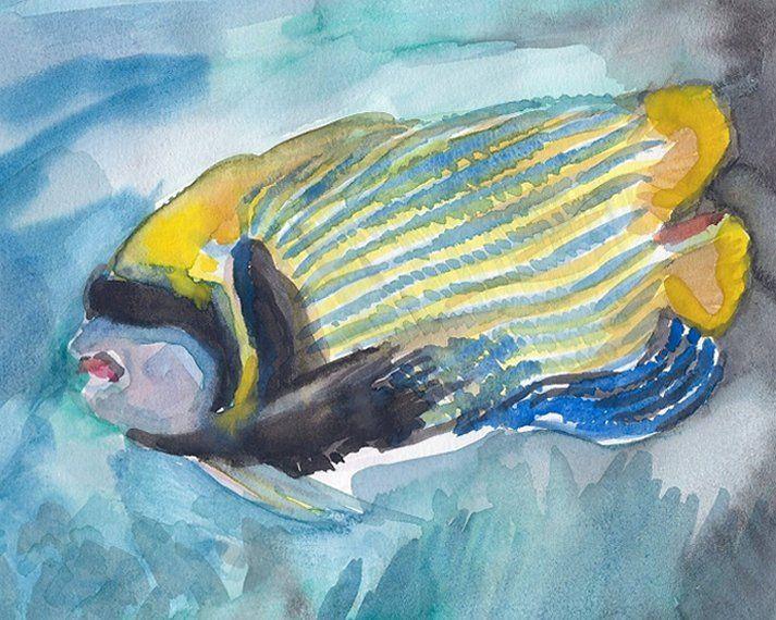 Tropical Yellow Striped Fish - PaintSarahPaint