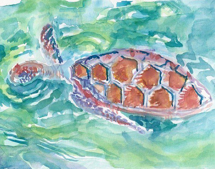 Swimming Sea Turtle - PaintSarahPaint