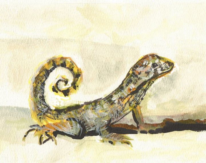 Lizard Striking a Pose - PaintSarahPaint