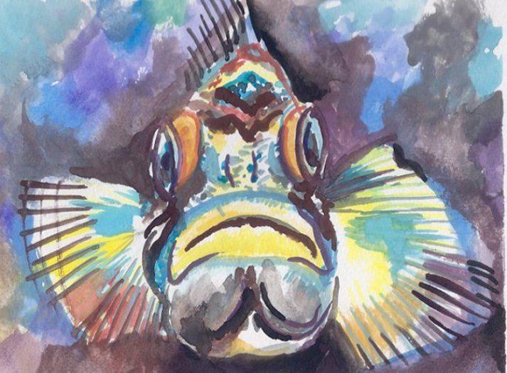 Grumpy Fish - PaintSarahPaint