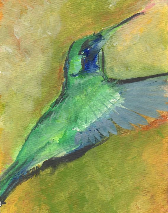 Hummingbird Caught in Flight - PaintSarahPaint