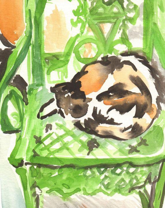 Sleeping Hemingway Cat from Key West - PaintSarahPaint