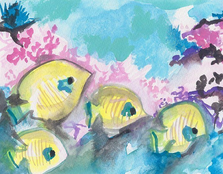 Caribbean Fish on a Coral Reef - PaintSarahPaint