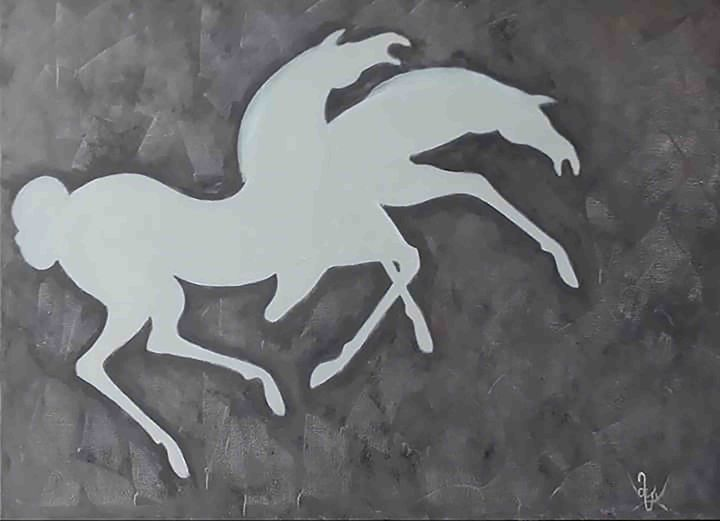"Hand-painted Horses by Mamuka. - Art Gallery ""Freska""-Paints By Mamuka and Kakha."