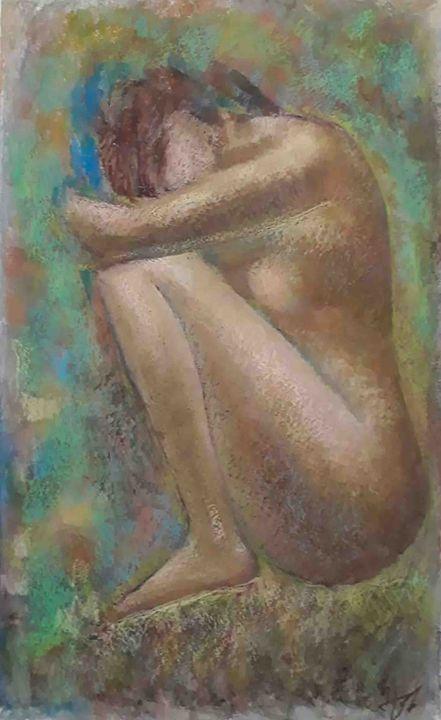 "Hand-painted nude female by Mamuka. - Art Gallery ""Freska""-Paints By Mamuka and Kakha."