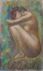Hand-painted nude female by Mamuka.