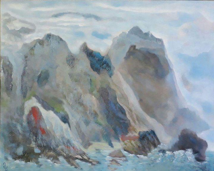 """Hand-painted landscape by Mamuka. - Art Gallery """"Freska""""-Paints By Mamuka and Kakha."""