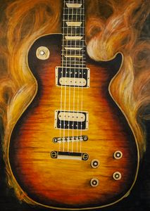 Hand Painted Guitar in Flames