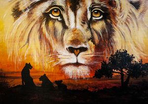 Hand Painted Lion and Family