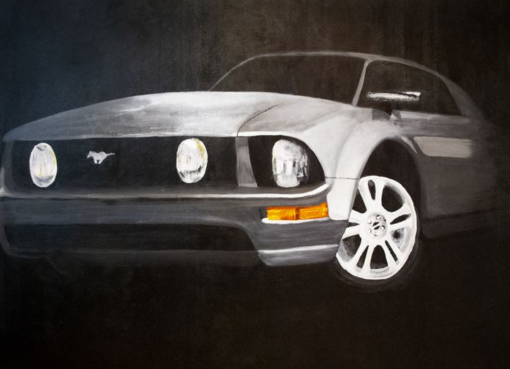 Hand Painted Mustang In The Night - Earl Hopkins