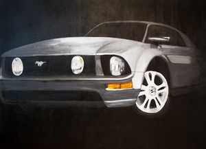 Hand Painted Mustang In The Night