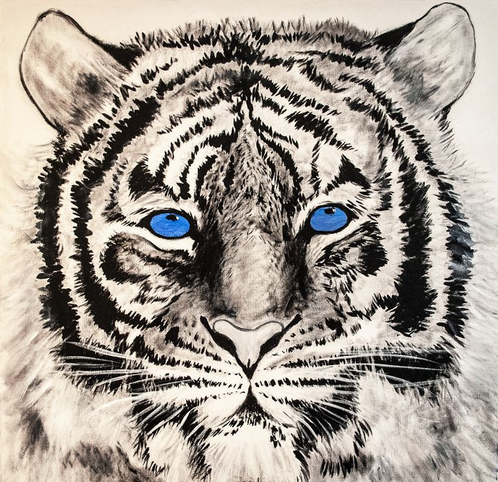 Hand Painted White Tiger - Earl Hopkins