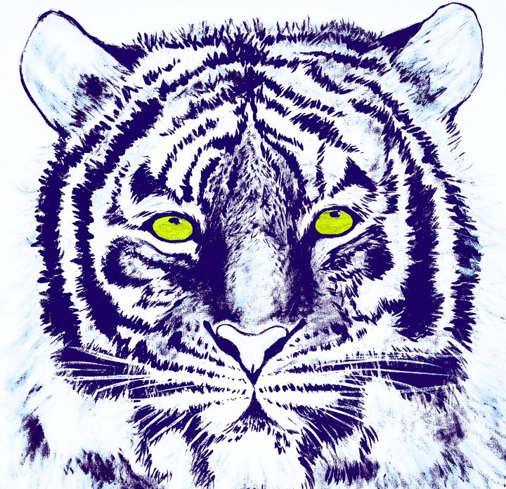Hand Painted Blue Tiger - Earl Hopkins