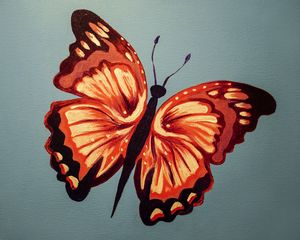 Hand Painted Butterfly Orange