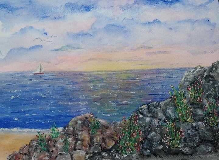 Sailing along a Rocky Coastline - Eric Litchfield