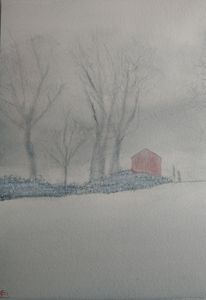 Red Barn on a Misty Winter Morning