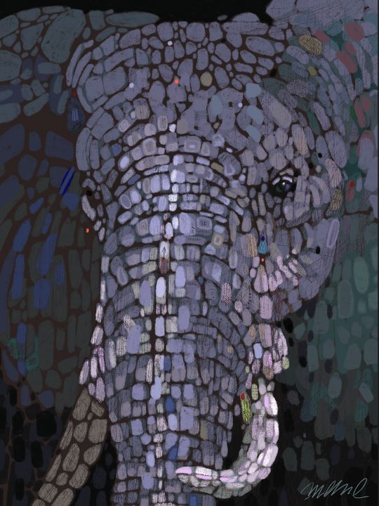 "Elephant Dots, Giclee Print 15x20"" - Vonklink,Art Of Steve Klinkel"