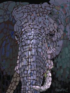 "Elephant Dots, Giclee Print 15x20"""
