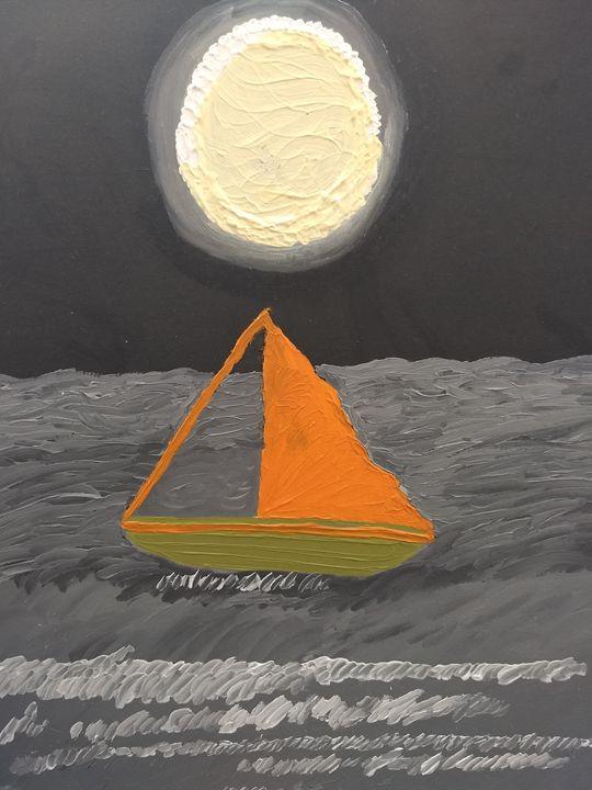 Classic boat full moon - G3Pics