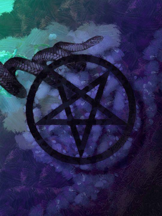 Inverted pentagram and Serpent - Black Morion
