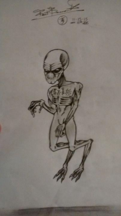 Grey alien sketch - Robert Joshua Brannen