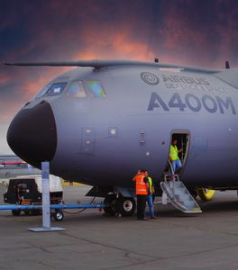 Static Airbus A400M plane on the Tar