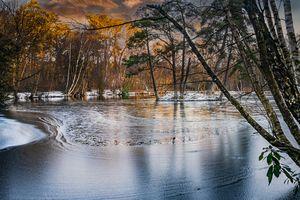 Ice Patterns and Snow on Heath Pond,