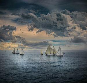 Sailing in calm seas Dramatic Skies