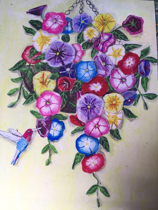 Hanging Flower Basket - Art by Barbara Saul