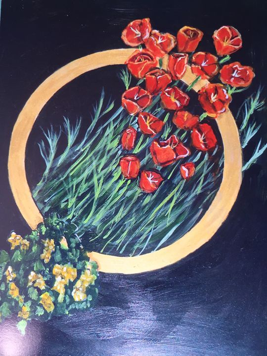 Poppies and Buttercups - Art by Barbara Saul