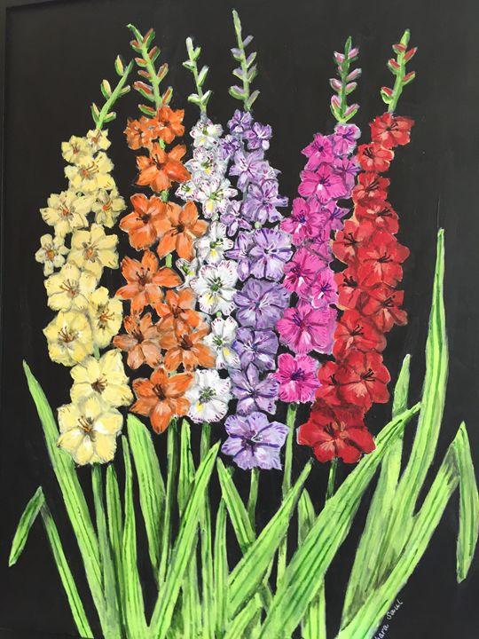 Multi-colored Gladioli - Art by Barbara Saul
