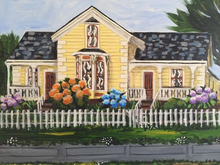 Yellow Farmhouse - Art by Barbara Saul
