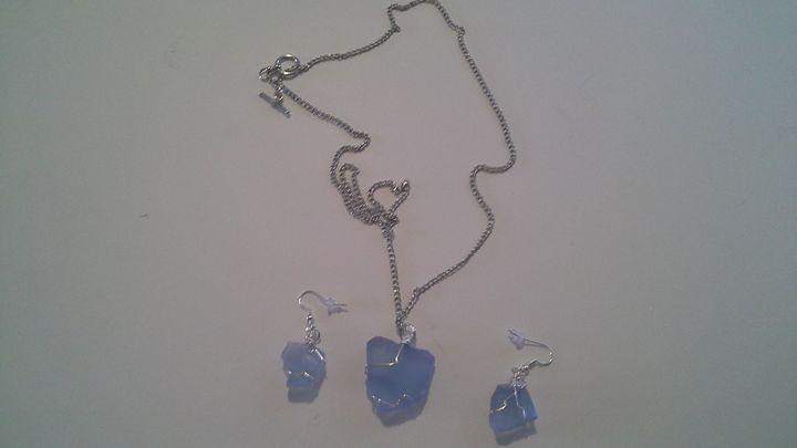 sea glass necklace and earrings - zangomike handmade jewelry