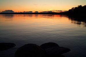 Quiet sunset waters