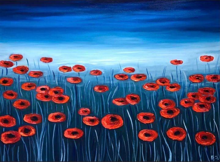 Poppies at dusk - Bogumil Staciwa