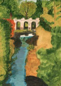 Landscape bridge over a small river