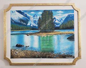 Nature acrylic painting. iceland.