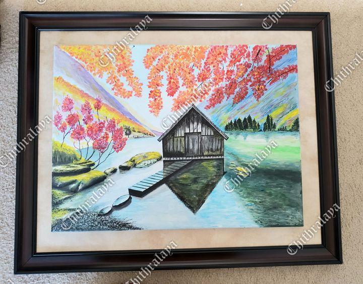 Acrylic nature painting. Lake view - Chithralaya