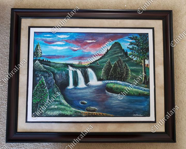 Nature. Acrylic painting. Waterfall. - Chithralaya