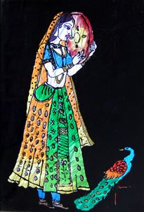 Indian Lady with Peacock