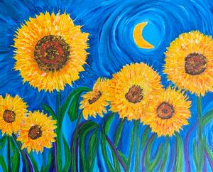 Sunflowers in the moonlight