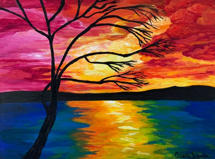 Red sunset at the lake - Celeste Sigala