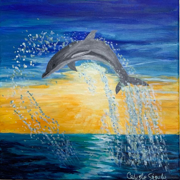 Jumping dolphin at sunset - Celeste Sigala